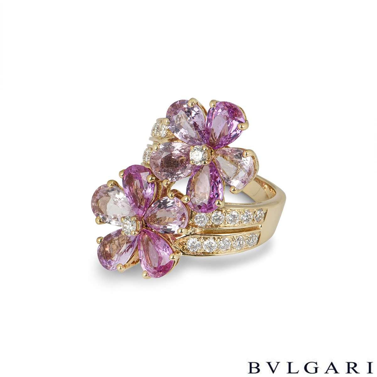 Bvlgari Yellow Gold Diamond Sapphire Flower Ring
